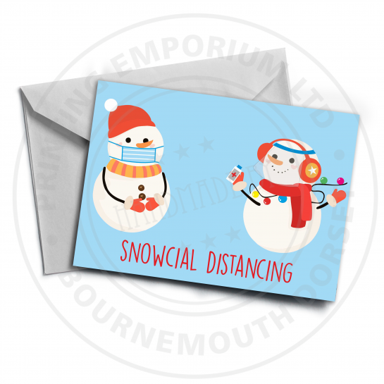 Snowcial Distancing Greetings Card